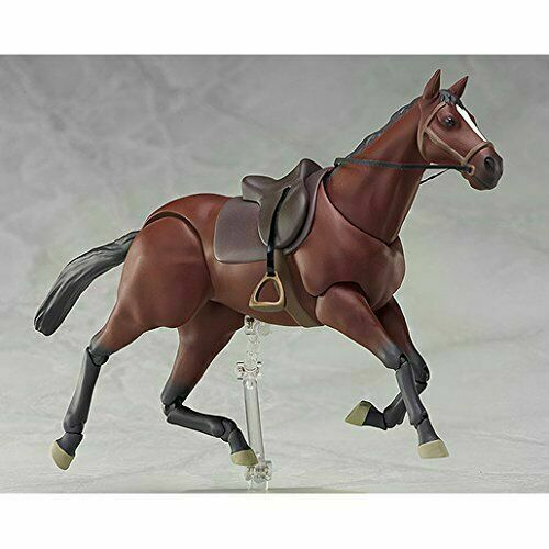 """1//12th 6/'/' figma 246a Chestnut Brown Horse PVC Animal Scene 160Mm Fit 6/""""  Figure"""