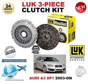 FOR AUDI A3 8P1 2.0 TDi 3.2 V6 QUATTRO 2003-ON CLUTCH KIT ORIGINAL LUK 3 PIECE