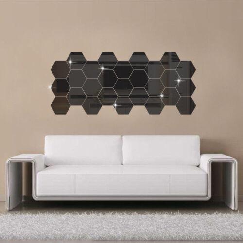 Wall Stickers 12Pcs 3D Mirror Hexagon Vinyl Removable Decal Home Decor Art DIY ~