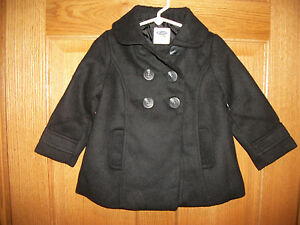 aa5bb7825 Details about New Girls Old Navy Wool Blend Lined PEA COAT Black Jacket  Size 2 T