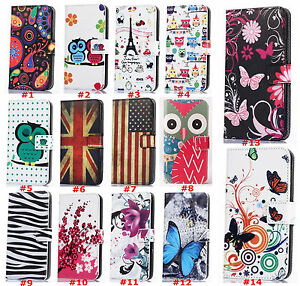 New-Retro-owl-butterfly-Leather-slot-wallet-flip-pouch-stand-case-skin-cover-G3