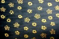 66 Black Velour W/ Gold Metallic Print Holiday Clothes Drape Decoration 1 Yard