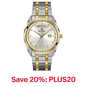 Bulova Men's 98C127 Quartz Gold/Silver-Tone Bracelet 39mm, 20% off: PLUS20