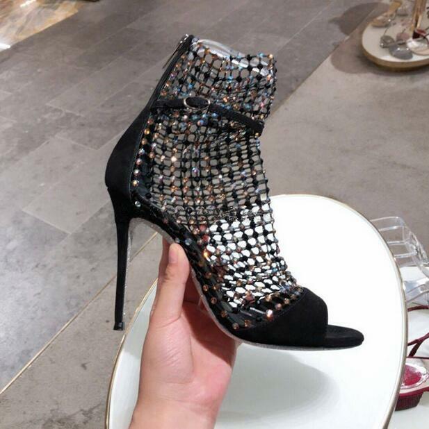 Fashion donna scarpe Peep-toe High Stiletto Heel Rhinestone Roman Sandals stivali