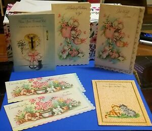 Mixed-Lot-of-6-Vintage-Cat-Cards-1950s-or-1960s-Unused-kitty-cards-ephemera