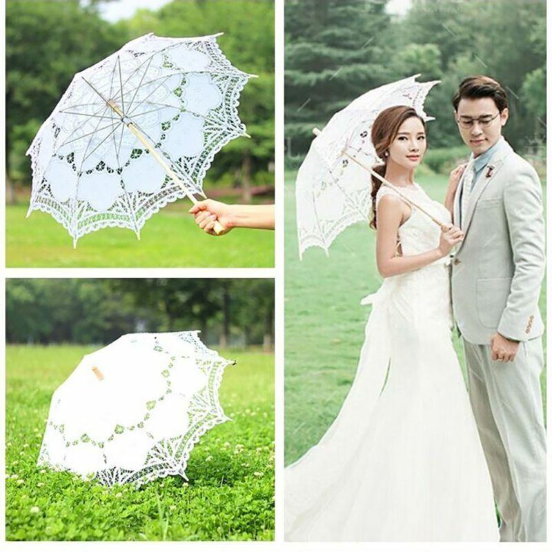 Women Handmade Cotton Parasol Lace Umbrella Party Wedding Bridal Decors Props US