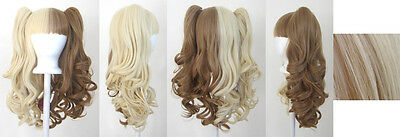 20'' Lolita Wig + 2 Pig Tails Set Half Blonde, Brown Split Cosplay Gothic Sweet