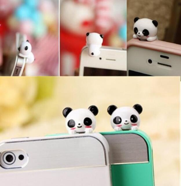 1xMobile Phone Panda Type Anti-Dust Plug Earphone Dustproof Cover Stopper Cap HA