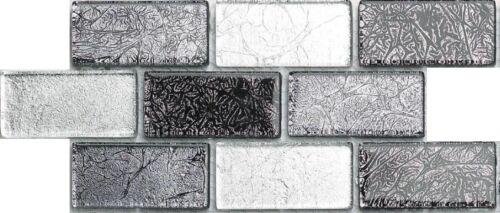 Échantillon d/'argent et noir Mix Brick FOIL Mosaïque Verre Carrelage 0161