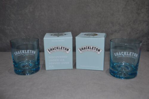 Pair Of 2 Shackleton Beautiful Blue Glass Scotch Whisky Tumbler Two New Box