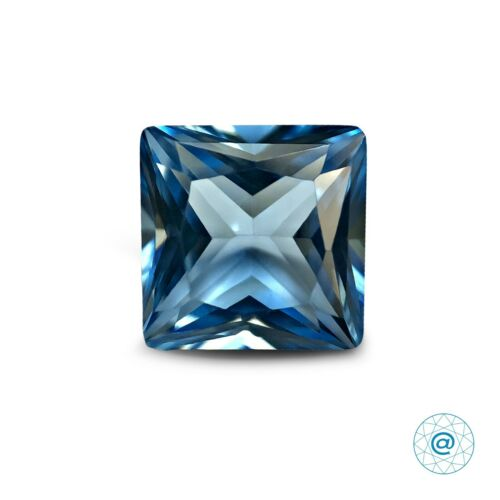 1 Ct Lab Created Loose Gemstone SIAMITE Princess 6x6 mm Topaz Sky Blue #144