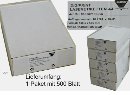 500 Blatt DIN A4 4000 Selbstklebende Etiketten 105x72 mm SEMKE Laseretiketten