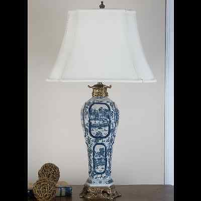 REPRODUCTION ORIENTAL BLUE AND WHITE willow LAMP WITH ORMOLU MOUNTS
