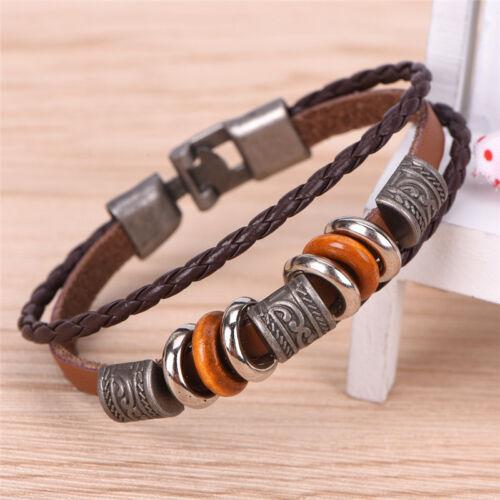 Retro Leather Bracelet Men Punk Bracelet Handmade Brown Leather Brace ZY