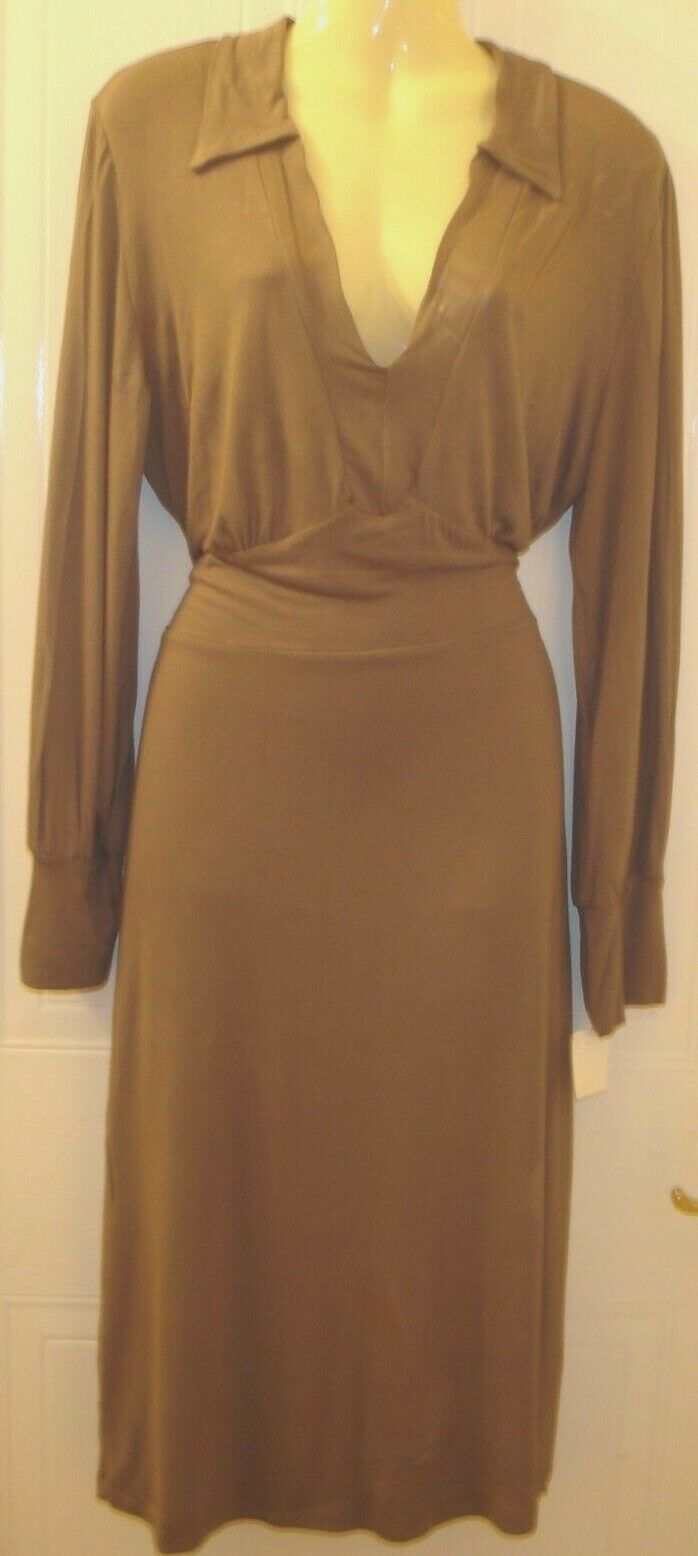 Women's Philosophy bluees Original Plunge Slinky Clingy Brown Earth Dress 12 UK