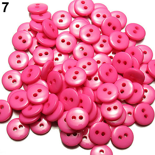 UK/_ GN 100PCS ROUND SCRAPBOOKING EMBELLISHMENT RESIN SEWING 2 HOLES BUTTONS BRI