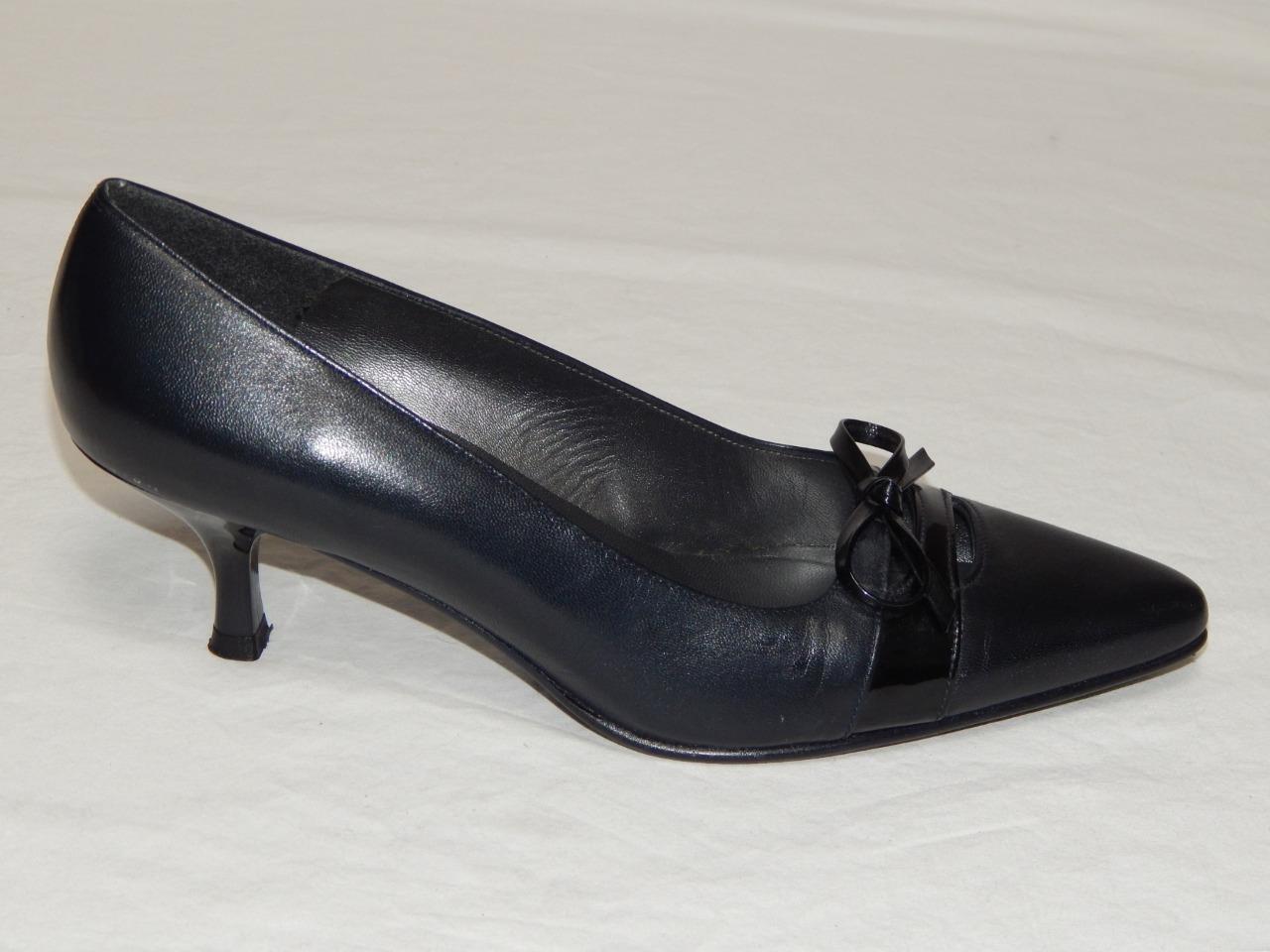 STUART STUART STUART WEITZMAN Spain Made Women's Black Leather Smoking Pumps Size 7.5 M a6d721