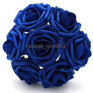 100 Foam Flower Roses Royal Blue Wedding Centerpieces Bridal Bouquet ...