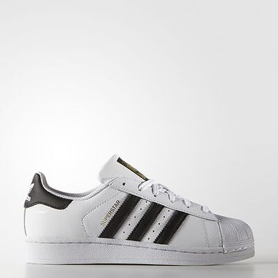 Authentic New Adidas Originals Big Kids Boys GS Superstar White Black  C77154