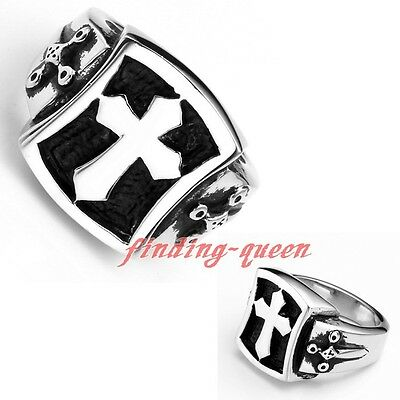 Punk Mens 316L Stainless Steel Shield Latin Cross Ring Heavy Biker Rings Rock
