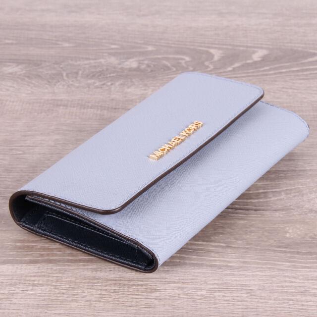 11b6f5b7a04e Michael Kors Jet Set Travel Pale Blue Saffiano Leather Large Trifold Wallet