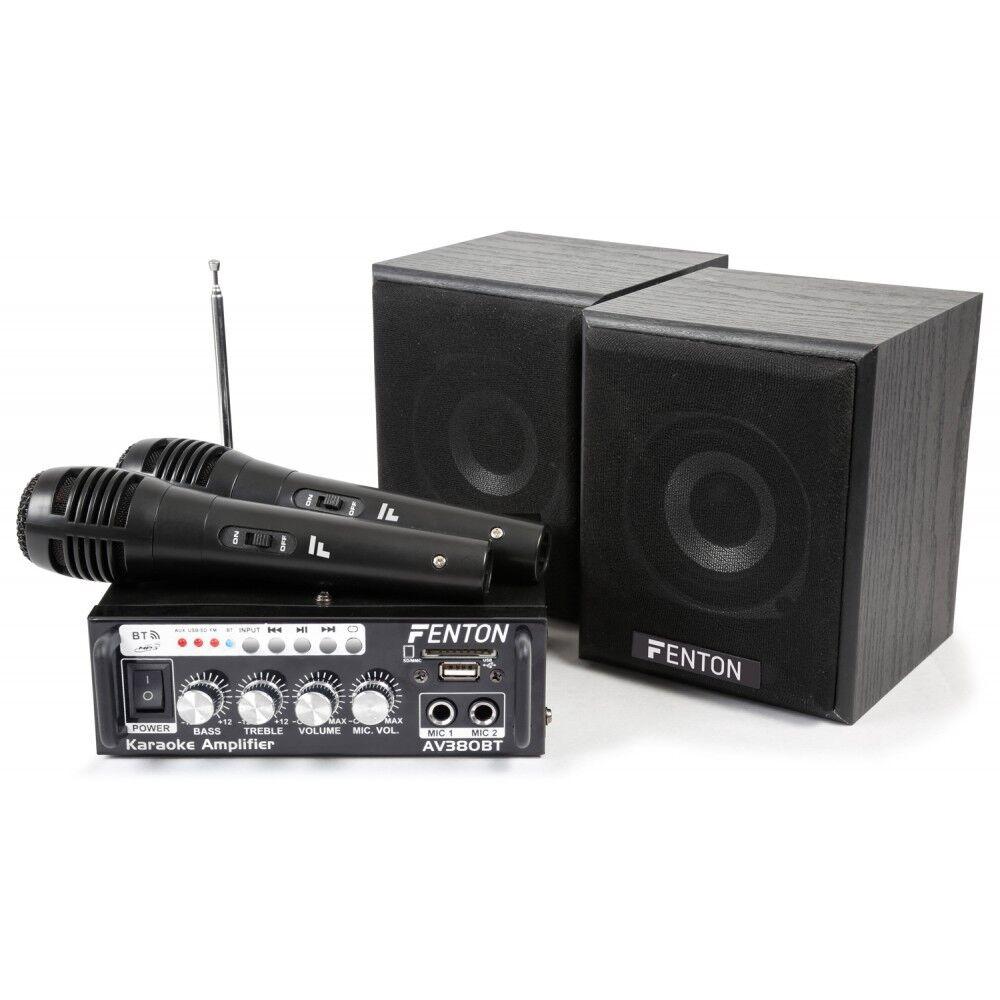 Kit Karaoke Batidora Amplificador con Altavoces y 2 Micros Mp3  USB  MICROSD