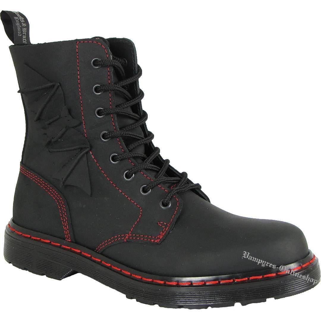 Boots and braces Easy 8 agujeros bat negro mate murciélago botas rojas costura Black