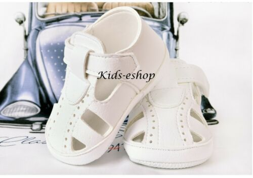 BABY BOYS WHITE FAUX LEATHER PRAM SHOES SANDALS CHRISTENING FORMAL PARTY