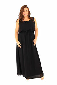 New-Plus-Size-Lili-London-Black-Chiffon-Maxi-Evening-Party-Dress-Size-16-26
