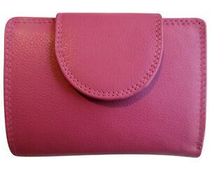 Leder-Geldboerse-WIENER-MINIBRIEFTASCHE-Fuchsia-Geldbeutel-Portemonnaie-Pink-Rosa