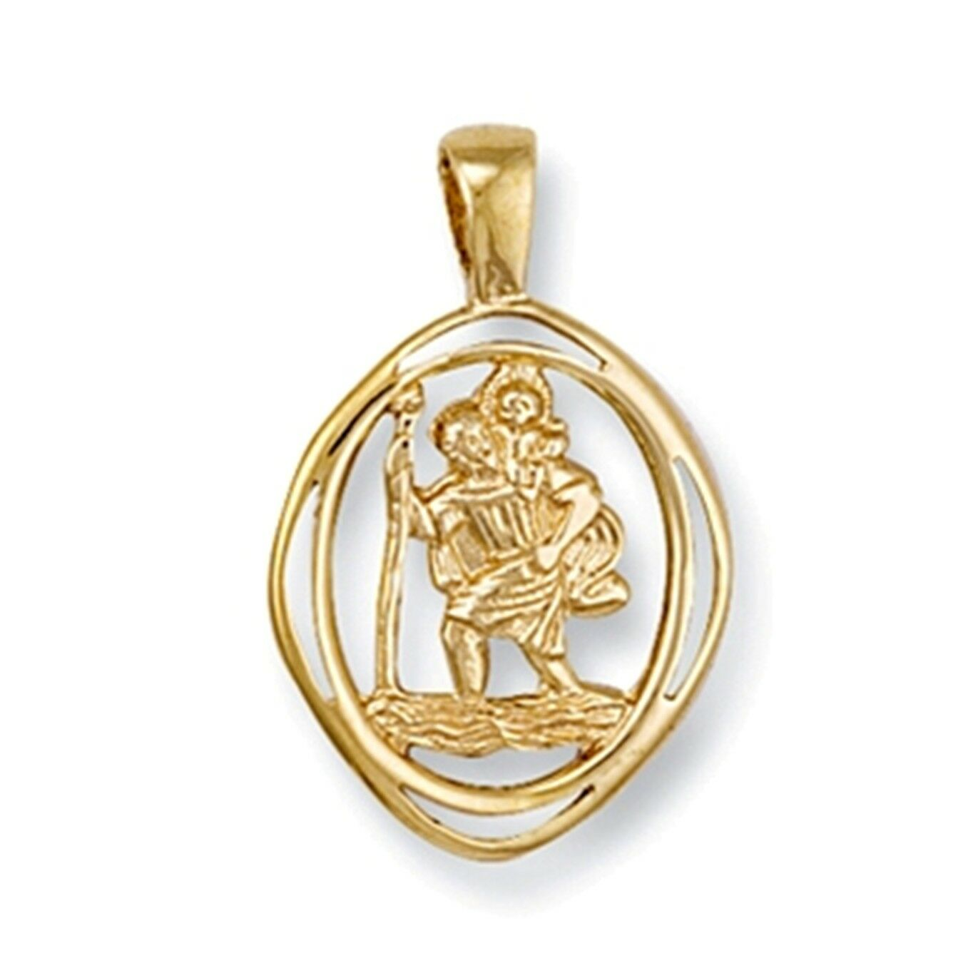 9ct gold Diamond shaped cut out St Christopher pendant 1.7g