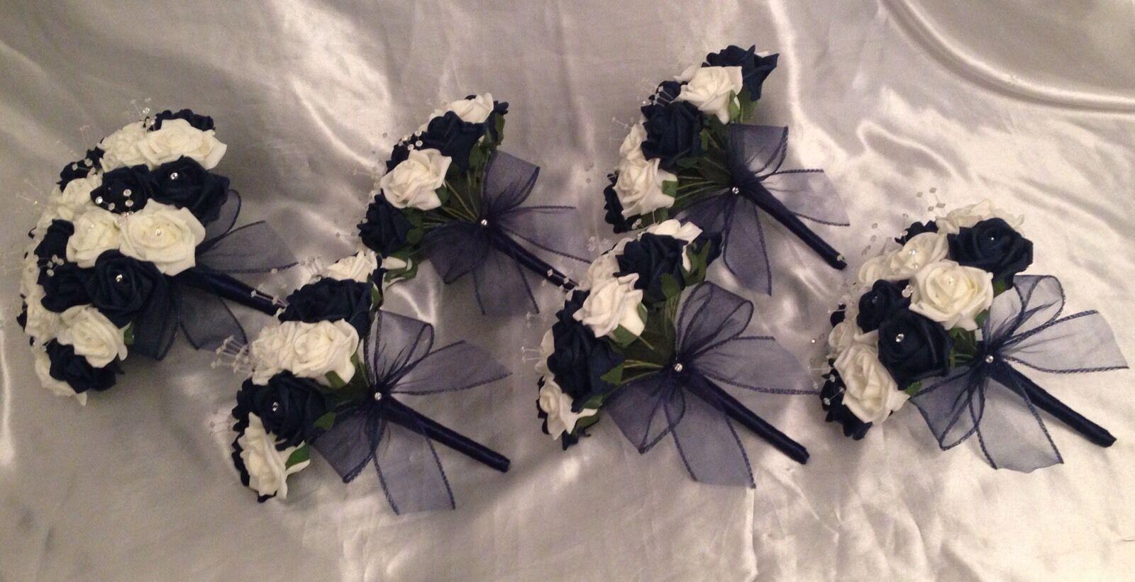 Mariage Fleurs Artificielles en Mousse Rose bouquets-bleu marine ivoire mariée demoiselle d'honneur