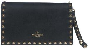 f0c5c7ec57 Image is loading NEW-VALENTINO-ROCKSTUD-BLACK-LEATHER-BEADED-SMALL-CLUTCH-