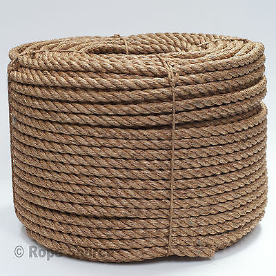 NATURAL MANILA DECKING ROPE 28MM VARIOUS LENGTHS AVILABLE STRONG GARDEN ROPE