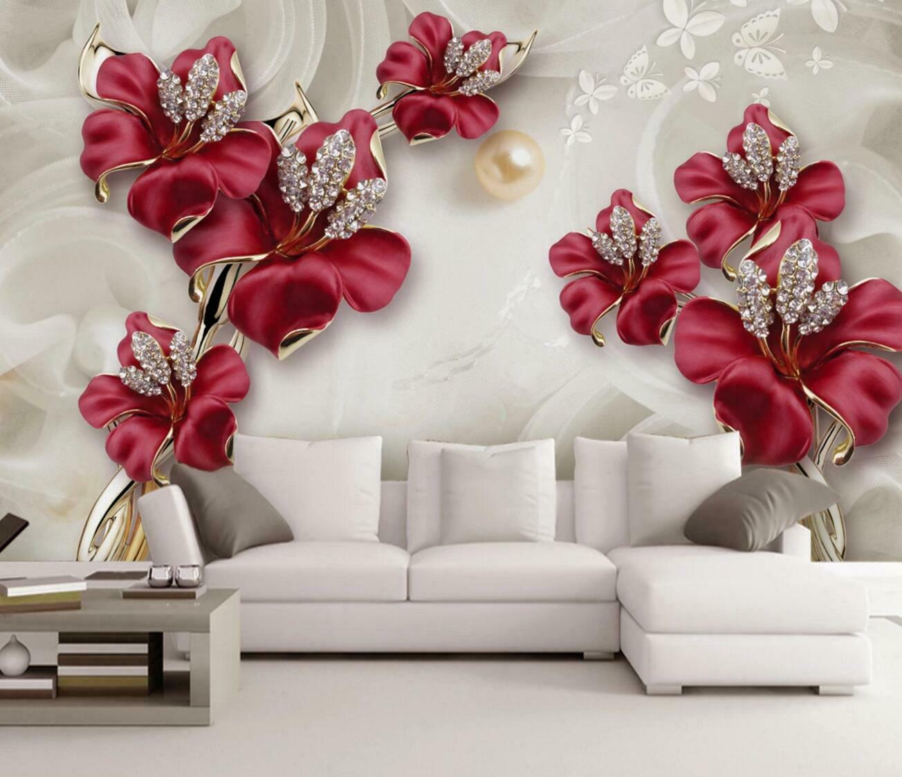 Décoration Murale En Relief 3d red tulip relief butterfly wall mural removable self-adhesive sticker