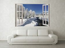 Snowy Mountain Scene 3D Full Colour Window Home Wall Art Stickers Mural Decal