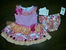 BNWT Bonnie Jean tutu style dress romper with matching nappy cover 9-12 mths