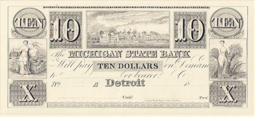Detroit Michigan State Bank ABNC Proof Print 10 Dollar Note
