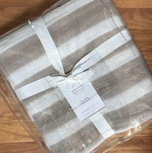 Pottery Barn Jamie Duvet Cover Flax King 2 Euro Shams Stripe Neutral Clio New