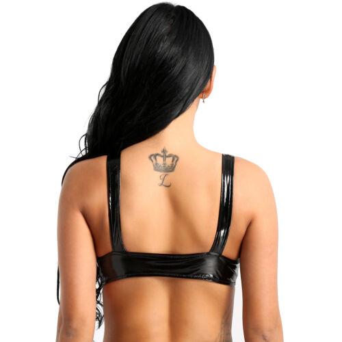 Women Faux Leather Mesh Bra Bustier Cami Unpadded Tank Tops Crop Tube Bra Vest