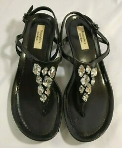 Women-039-s-Simply-Vera-Wang-Sandal-Size-6-5-Ankle-Strap-Wedge-Black-Jeweled-Face