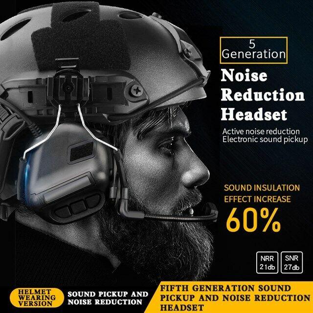 Recolección de sonido táctico rojoucción de ruido casco de comunicación auricular Cocheril de guía