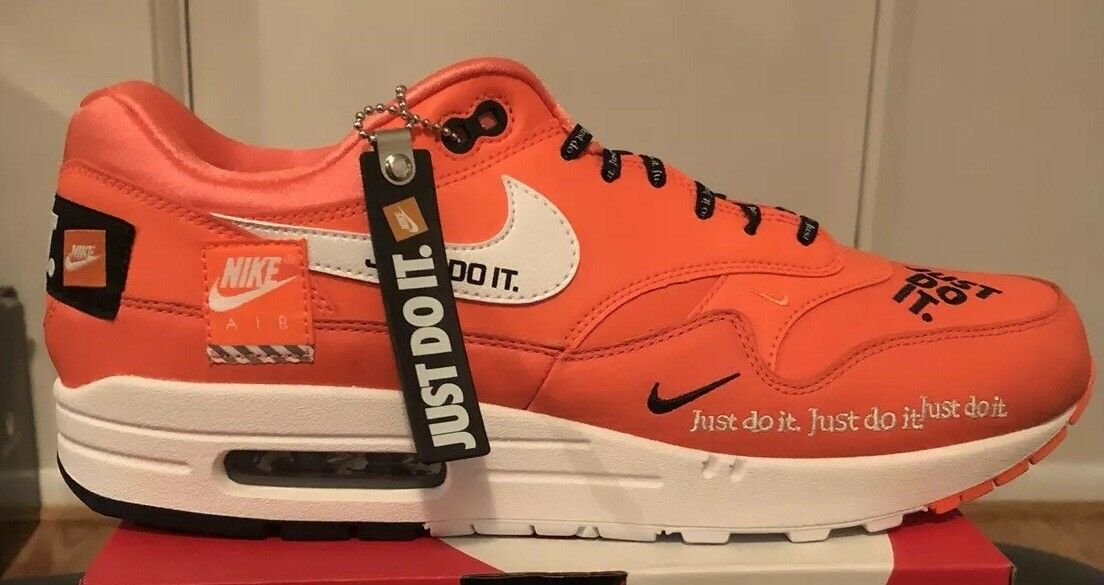 Nike Air Max 1 JDI Just Do It orange Black AO1021-800 Size 11 100% Authentic