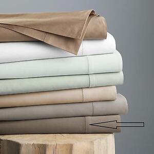 Hudson Park 600 TC 100% Egyptian Cotton King Flat Sheet Solid MINK BROWN v15