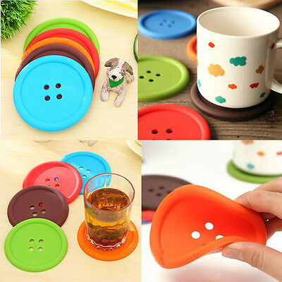 4PCS Cute Silicone Button Shape Tea Cup Holder Coaster Pad Cushion Placemat Mat