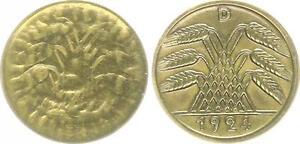 Weimar Lack Coinage 5 Pfennig 1924 D Wertseite Incus ,Aber Wertzahl Noch Visible