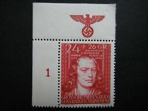 Germany Nazi 1944 Stamps MNH Andreas Schluter Swastika Eagle Generalgouvernement