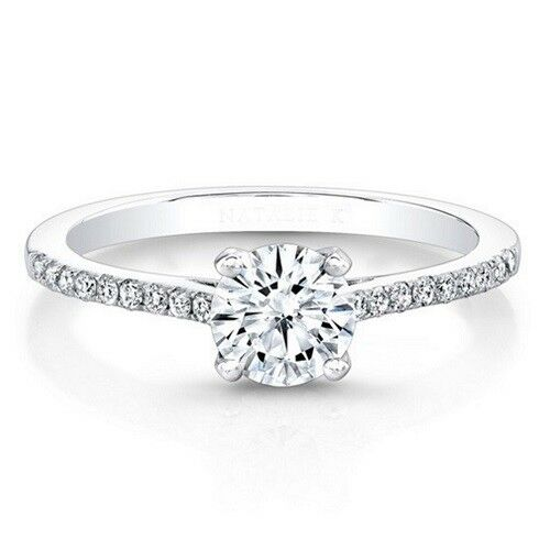 0.71 Ct Certified  Moissanite Ring Round Cut 14K Solid White gold Size 5