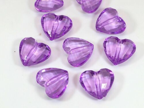 50 Transparent Color Acrylic Faceted Heart Charm Beads 18mm Various Pink Red