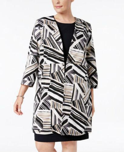 Kasper Plus Size Abstract-Print Ottoman Jacket CLAY MULTI COLOUR Orig $139.00